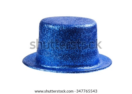 Blue glitter party hat isolated on white - stock photo