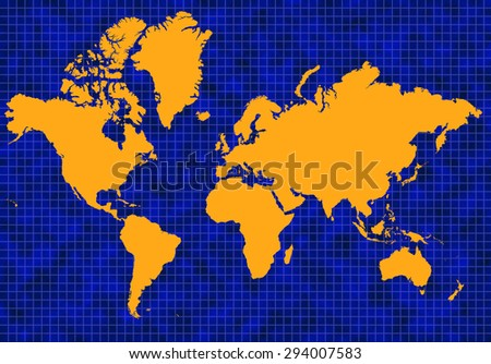 Blue global map with blue grid lines and yellow or gold continents - stock photo