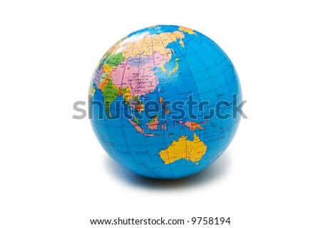 Blue globe isolated on the white background - stock photo