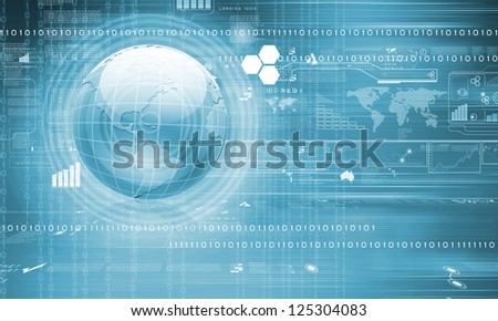 Blue globe on the digital technology background - stock photo