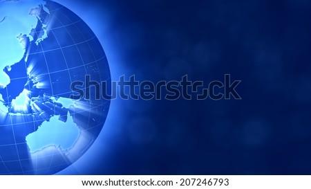 Blue Globe on the left, breaking news style.Oceania. - stock photo