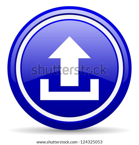 blue glossy circle web icon on white background with shadow - stock photo