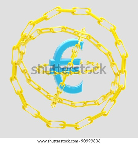 Blue glossy euro sign encircled with golden chains isolated on grey - stock photo