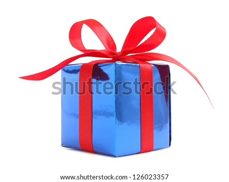 Blue glossy gift wrapped present with red satin bow, isolated on white - stock photo