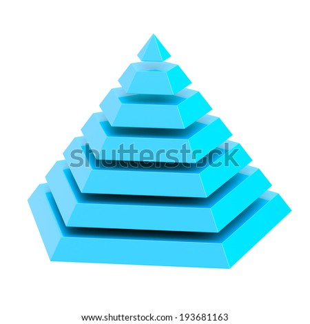 Blue glossy pyramid divided into seven segment layers, isolated over the white background - stock photo