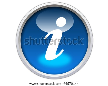 blue glossy rounded info icon button isolated over white background - stock photo