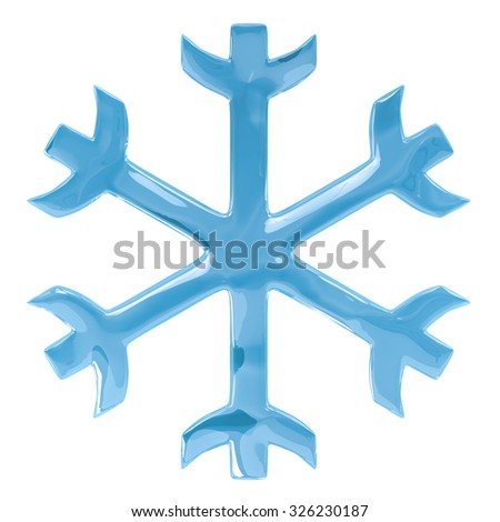 Blue glossy simple snowflake isolated on white background. - stock photo