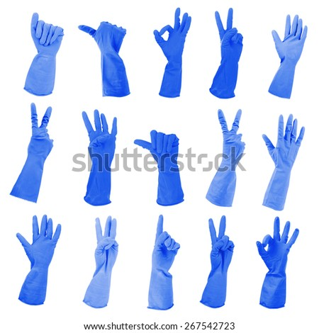 Blue gloves gesturing numbers isolated on white - stock photo