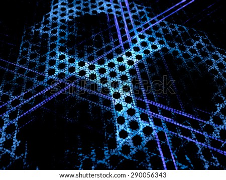 Blue glowing microscopic grid nanotechnology, new technology in future, computer generated abstract background - stock photo