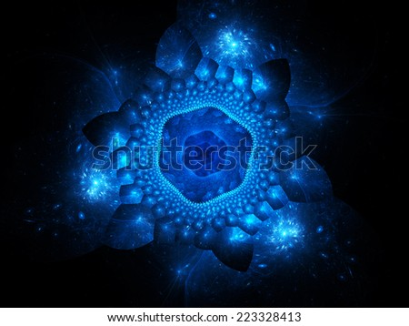 Blue glowing nano particles in space, computer generated abstract background - stock photo