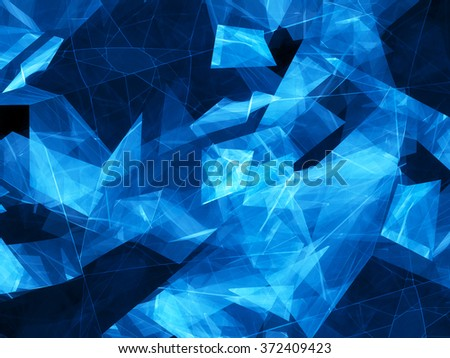 Blue glowing shapes with lines design, computer generated abstract background - stock photo