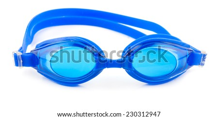 blue goggles for swim on white background  - stock photo
