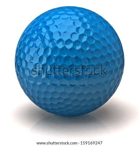 Blue golf ball isolated on white background - stock photo
