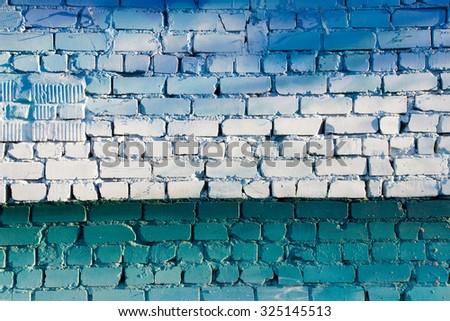Blue gradient brick wall background.  - stock photo