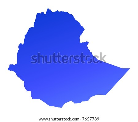 Blue gradient Ethiopia map. Detailed, Mercator projection. - stock photo