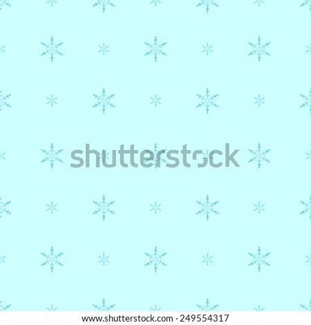 Blue gradient snowflakes in polka dot pattern on cold light cyan, a seamless winter background - stock photo