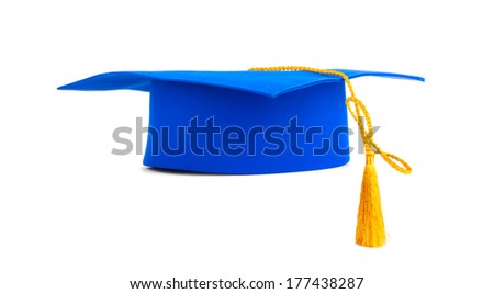 Blue graduation cap with gold tassel isolated on a white background - stock photo