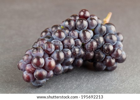 Blue grape cluster on slate board. Shallow dof - stock photo