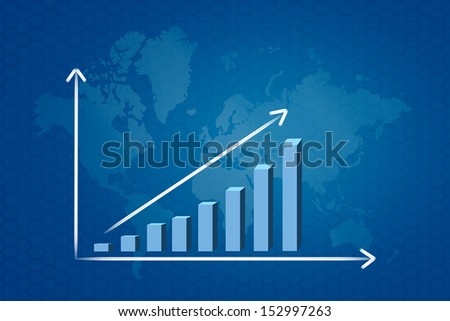 blue graph in map background  - stock photo