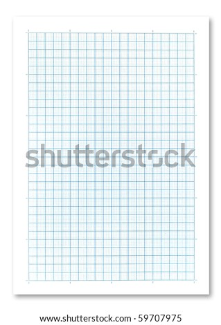 Blue graph paper on white background. - stock photo
