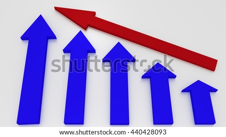 Blue graphic arrows pointing up and a red arrow shows growth on white background. Financial chart. From high to low. 3D illustration - stock photo