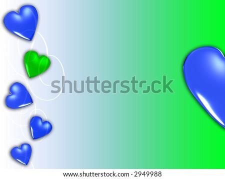 blue green abstract heart - stock photo