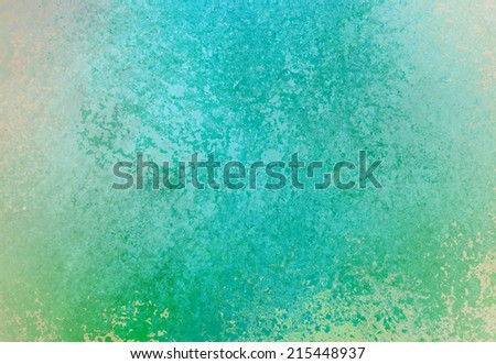 blue green background with beige white grunge paint texture on border, old vintage background - stock photo