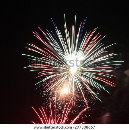 Blue Green Red Silver Triple Firework - stock photo