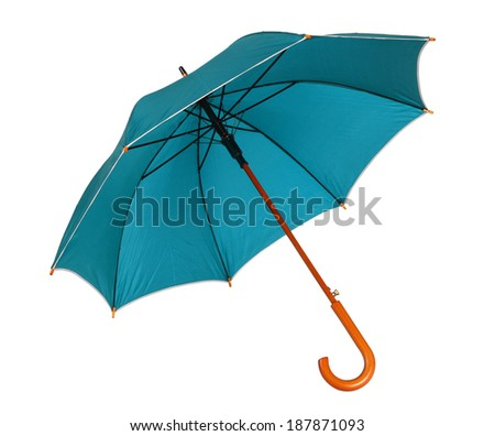 Blue green umbrella / studio photo of opened umbrella - isolated on white background  - stock photo