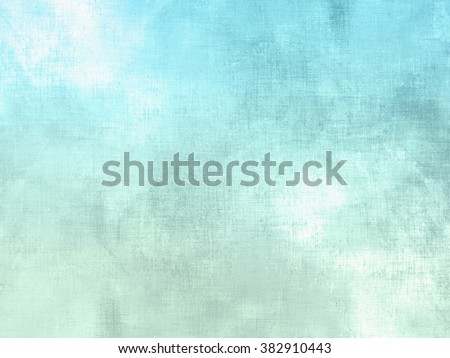 Blue green watercolor background pastel - abstract soft sky texture with clouds - stock photo