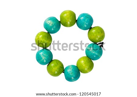 blue & green wooden beads bracelet isolated on white - stock photo