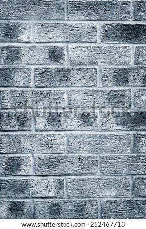 Blue grey brick wall texture and background - stock photo