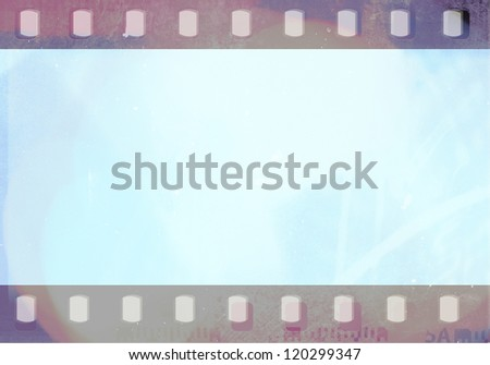 blue grunge film background - stock photo