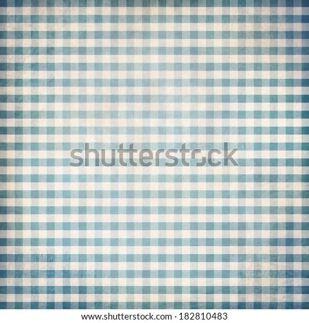 Blue grunge gingham picnic tablecloth background - stock photo