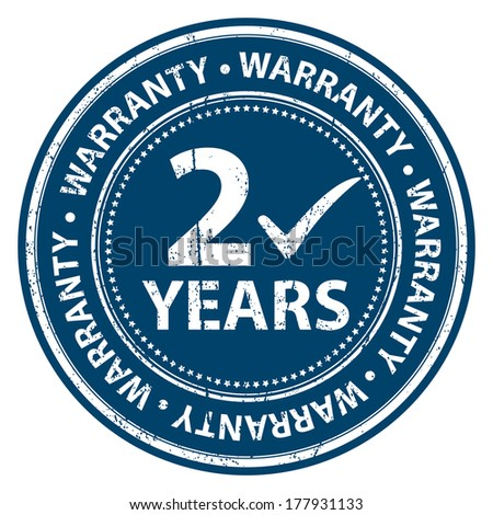 Blue Grunge Style 2 Years Warranty Icon, Badge, Label or Sticker for Product Warranty, Quality Control, Quality Assurance, Quality Management, CRM or Customer Satisfaction Concept Isolated on White - stock photo