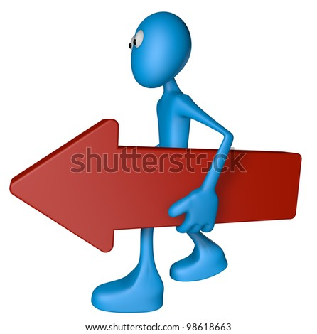 blue guy carries red arrow - 3d illustration - stock photo