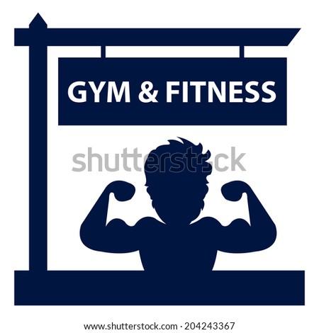 Blue Gym and Fitness Road Sign With Bodybuilder or Muscle Man Sign or Icon Isolated on White Background  - stock photo