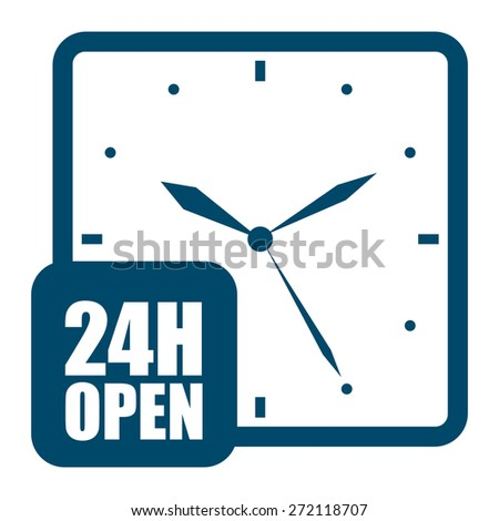 Blue 24H Open, Open 24 Hours or Service 24 Hours Label, Sign or Icon Isolated on White Background - stock photo