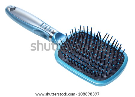 blue hair brush isolated on white background - stock photo