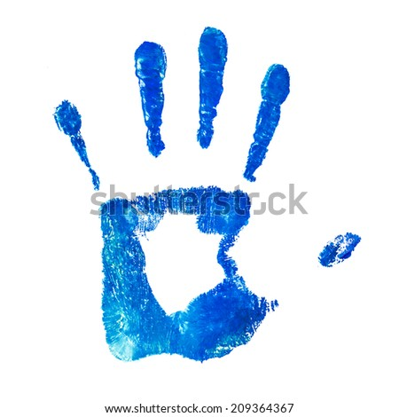blue handprint on an isolated white background - stock photo