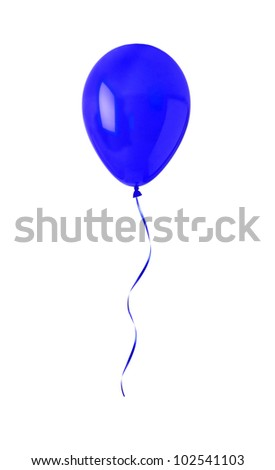blue happy air flying ball isolated on white - stock photo