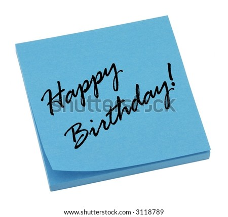 Blue happy birthday memo isolated on white. - stock photo