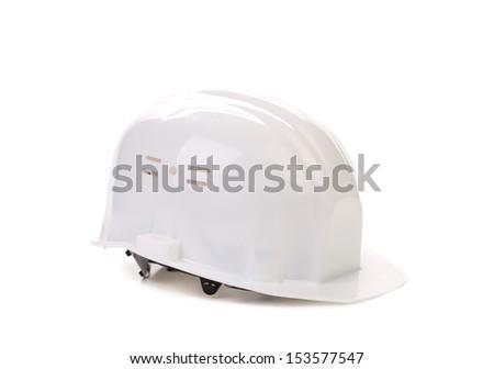 Blue hard hat isolated - stock photo