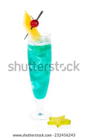 Blue Hawaii cocktail - stock photo