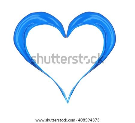 Blue heart made of paint splash isolated on white - stock photo