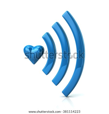 Blue heart shape and wifi icon isolated on white background - stock photo