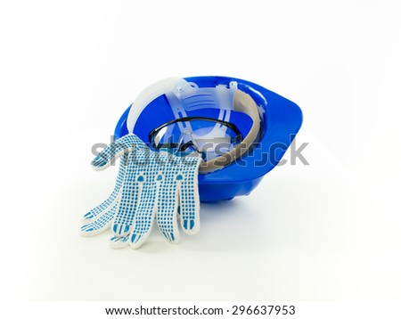 blue helmet with protective equipment in it, on white background - stock photo