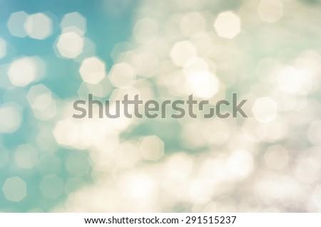 Blue hexagonal bokeh abstract background. - stock photo