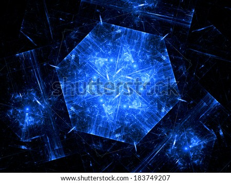 Blue hexagonal object, nanotechnology, computer generated fractal background - stock photo