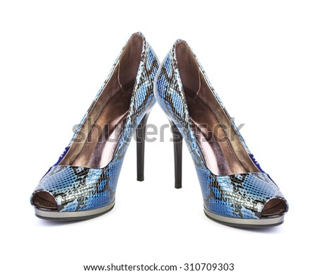Blue high heel women shoes isolated on white background - stock photo